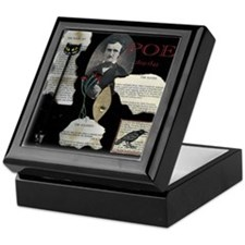 Edgar Allen Poe Collage Tile Top Keepsake Box