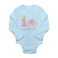 First Birthday Girl Elephant Body Suit