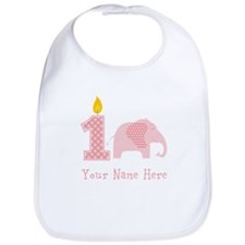First Birthday Girl Elephant Bib