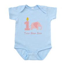 First Birthday Girl Elephant Body Suit