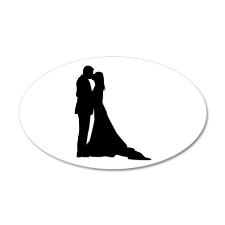 Kissing wedding couple 20x12 Oval Wall Decal
