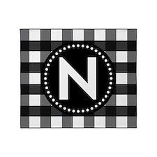 Letter N Monogram Gingham Throw Blanket