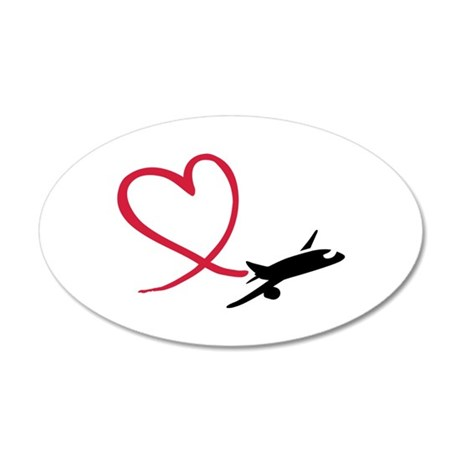 Airplane red heart 20x12 Oval Wall Decal