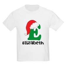 Christmas Santa Hat E Monogram T-Shirt
