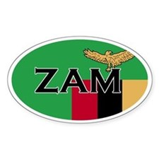 Zambian Flag with Text Oval Decal
