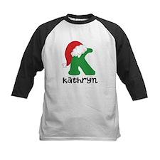Christmas Santa Hat K Monogram Baseball Jersey