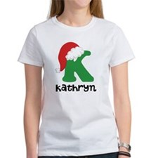 Christmas Santa Hat K Monogram T-Shirt