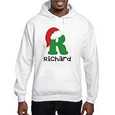 Christmas Santa Hat R Monogram Hoodie