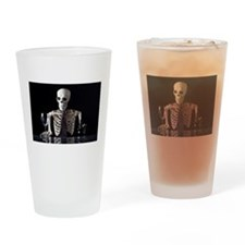 Skinny Skeleton Tends Bar Drinking Glass