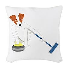 Jack Russell Terrier Curling Woven Throw Pillow