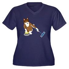 Sheltie Curling Women's Plus Size T-Shirt