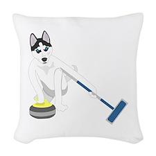 Siberian Husky Curling Woven Throw Pillow