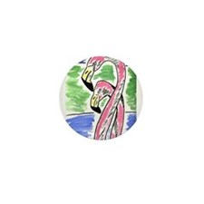 Flamingos Two Mini Button