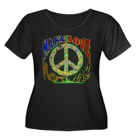 Love not War Womens Plus Size Scoop Neck Dark T-S