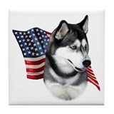 Husky(blk) Flag Tile Coaster