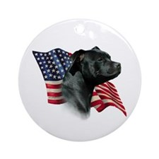 Staffy Flag Ornament (Round)