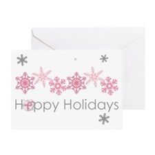 Pink Snkowflake Holidays Greeting Cards