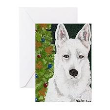 White Dog Holiday Design Christmas Greeting Cards