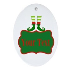 Personalizable Christmas Elf Feet Ornament (Oval)