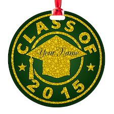 Emerald Class Of 2015 Graduation Round Ornament