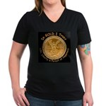 Mex Gold Women's V-Neck Dark T-Shirt