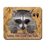 Raccoon and tracks Mousepad