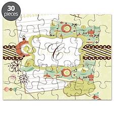 Retro Christmas Monogram Puzzle