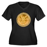 Mexican Oro Puro Women's Plus Size V-Neck Dark T-S