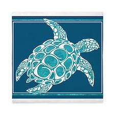 Aqua Sea Turtle Queen Duvet