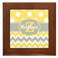 Gray Yellow Dots Chevron Personalized Framed Tile