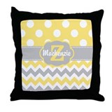 Yellow polka dot Throw Pillows