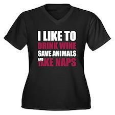 Drink Wine, Save Animals, Take Naps Plus Size T-Sh