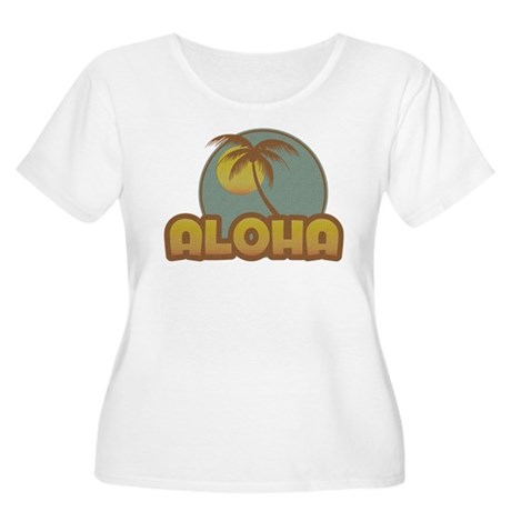 Aloha Palm Women's Plus Size Scoop Neck T-Shirt