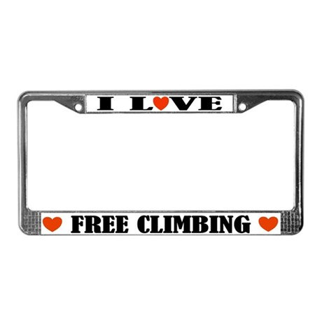I Love Free Climbing License Plate Frame