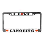 I Love Canoeing License Plate Frame