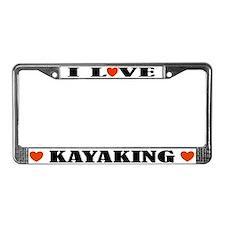 I Love Kayaking License Plate Frame