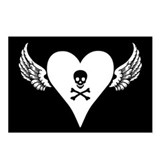 Eight Skull + Heart + Wings Postcards