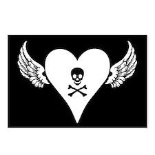 Eight Skull + Heart + Wings Postcards