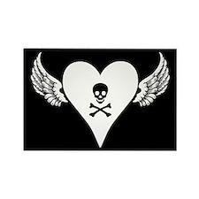 Skull + Heart + Wings Rectangle Magnet