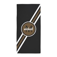 Masculine Tan and Gray Personalized Mo Beach Towel