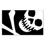 CROSSBONES Rectangle Decal