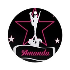 Pink and Black Cheerleader Ornament (Round)