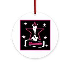 Pink and Black Cheerleader Ornament (Round)