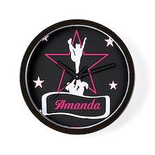 Pink and Black Cheerleader Wall Clock