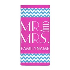 Girly Pink Chevron Stripes Custom Mr a Beach Towel