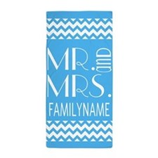 Aqua and White Mr. and Mrs. Chevron Beach Towel