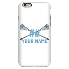 Personalized Crossed Lacrosse Sticks CBlue iPhone