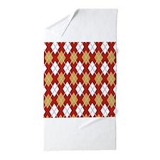 Red Grey Yellow Argyle Diamond Pattern Beach Towel