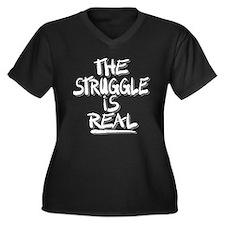 Unique Humorous Women's Plus Size V-Neck Dark T-Shirt