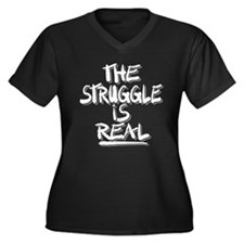 Cute Humorous Women's Plus Size V-Neck Dark T-Shirt
